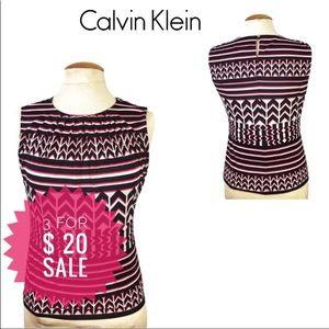 CALVIN KLEIN Women Red Black Sleeveless Blouse S